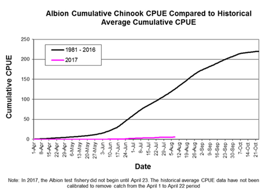 Fig2-Albion cumulative chinook CPUE compared to historical average